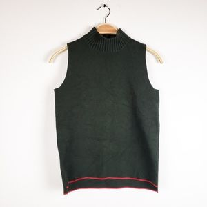 Zara Knit • Dark Olive Green Red Mock Neck Top